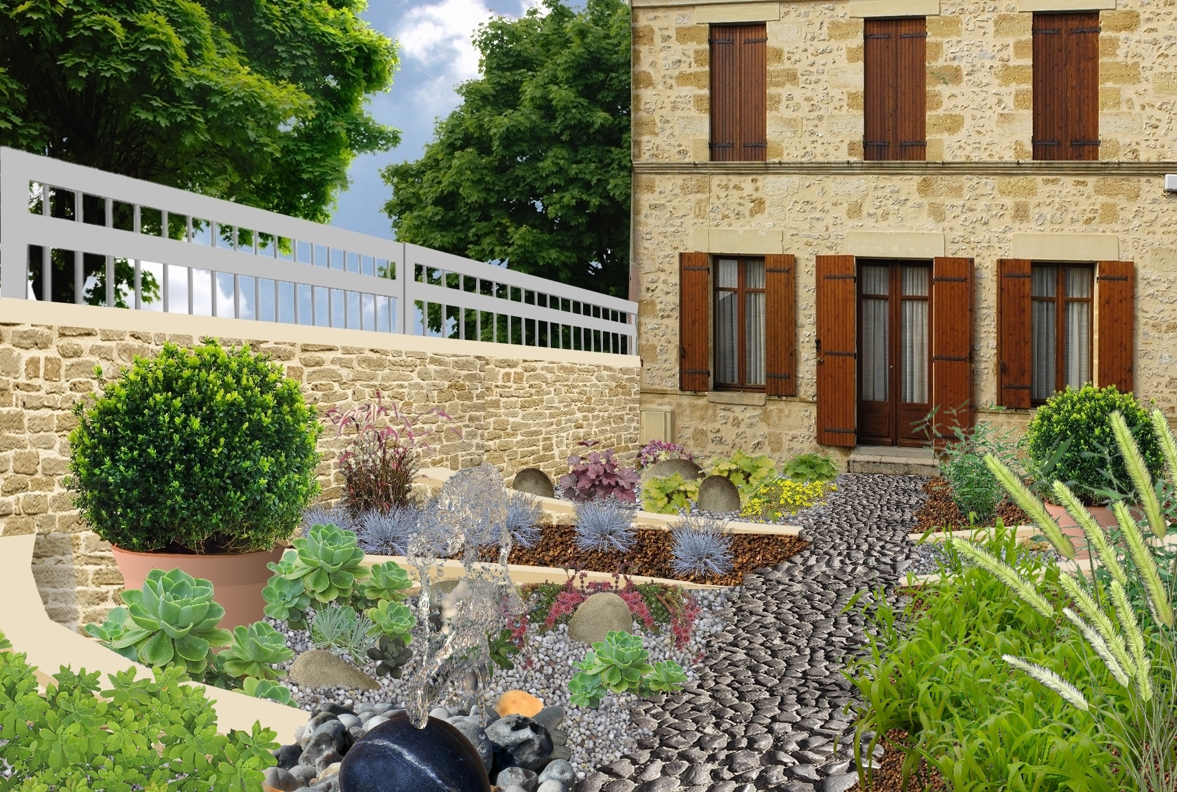 Jardin min ral cr er un jardin de gravier for Exemple d amenagement de jardin