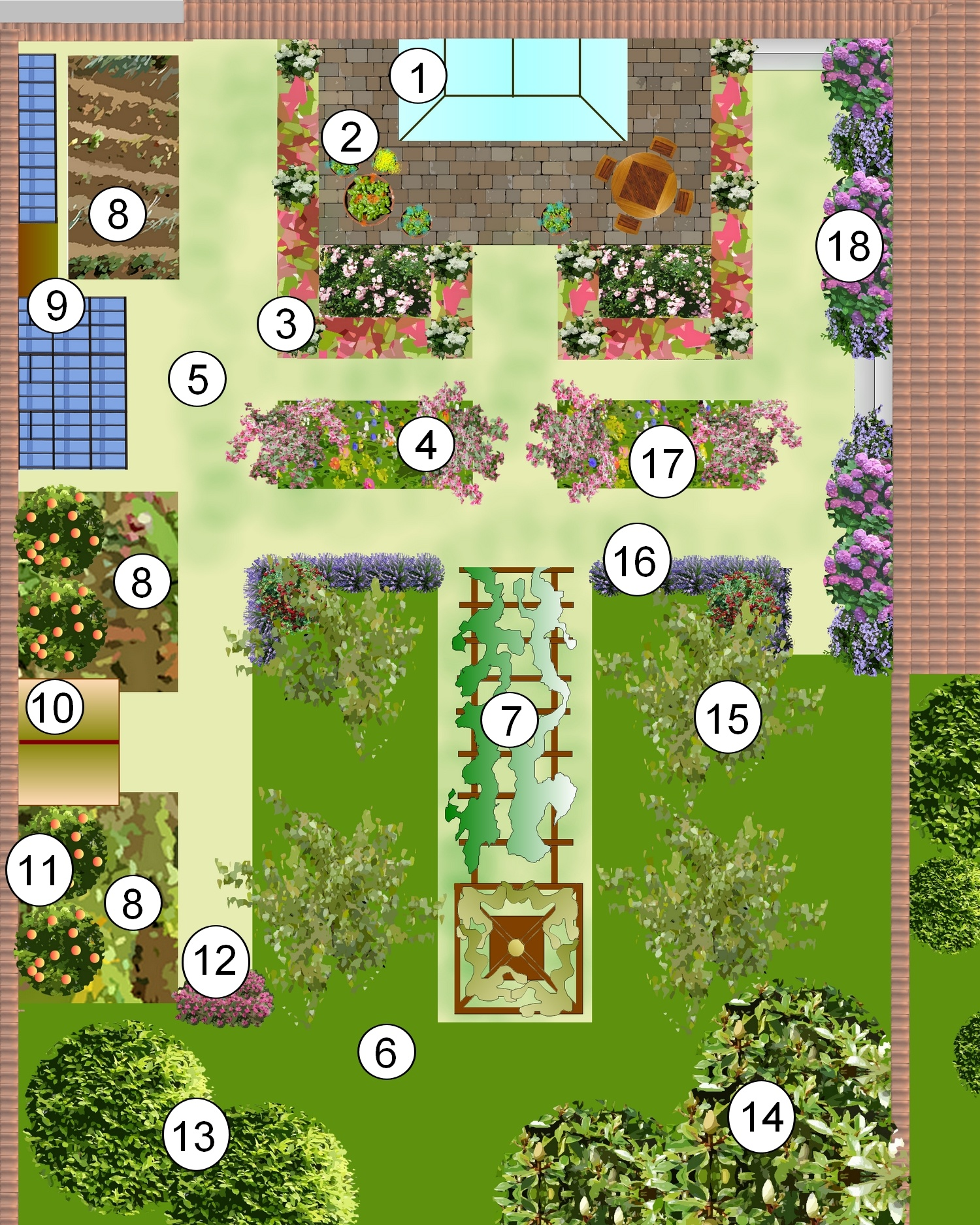 Exemple plan jardin mod le d 39 am nagement paysag page numero un - Plan amenagement jardin rectangulaire ...