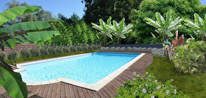 Bon Exemple De Jardin Autour Du0027une Piscine :