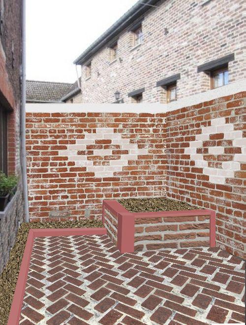 Am nager un petit jardin avec de la brique - Peindre cheminee brique rouge ...