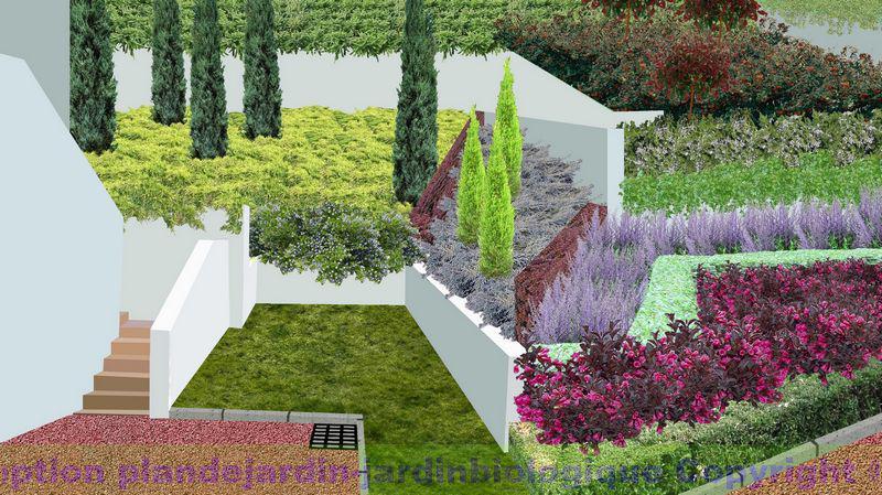 aménagement jardin en pente: jardin en pente douce: jardin à ...