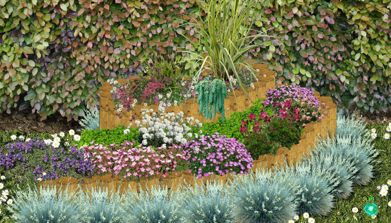 spirale d 39 aromatiques ou de fleurs en pierres ou en rondins de bois. Black Bedroom Furniture Sets. Home Design Ideas