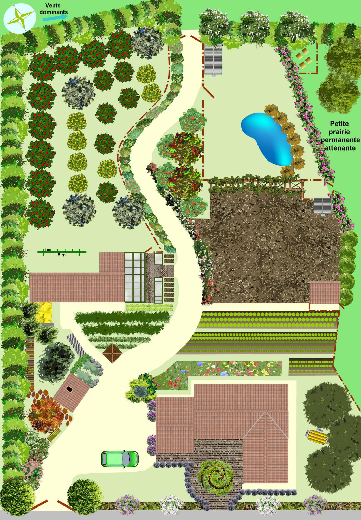 Cr er un jardin en permaculture plan for Amenagement jardin 200m2