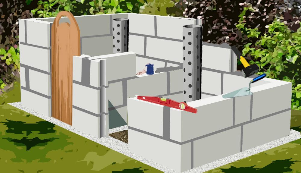 construire un composteur en parpaing plan de construction. Black Bedroom Furniture Sets. Home Design Ideas