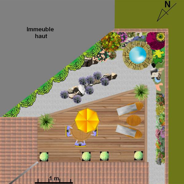 amenagement jardin triangulaire